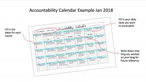 accountability calendar example image - mom blog from home