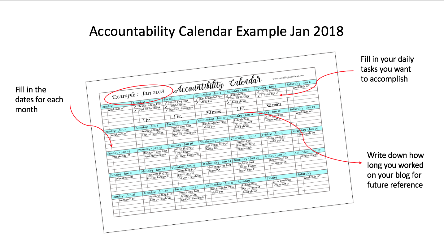 accountability calendar example image - mom blog from home
