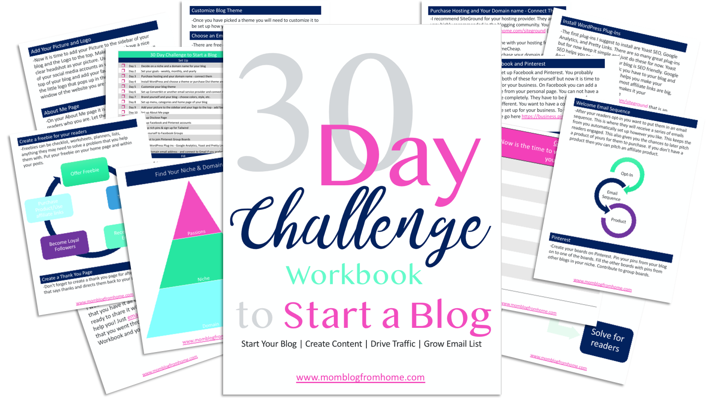 30-Day Challenge Workbook to Start a Blog - Mom Blog From Home