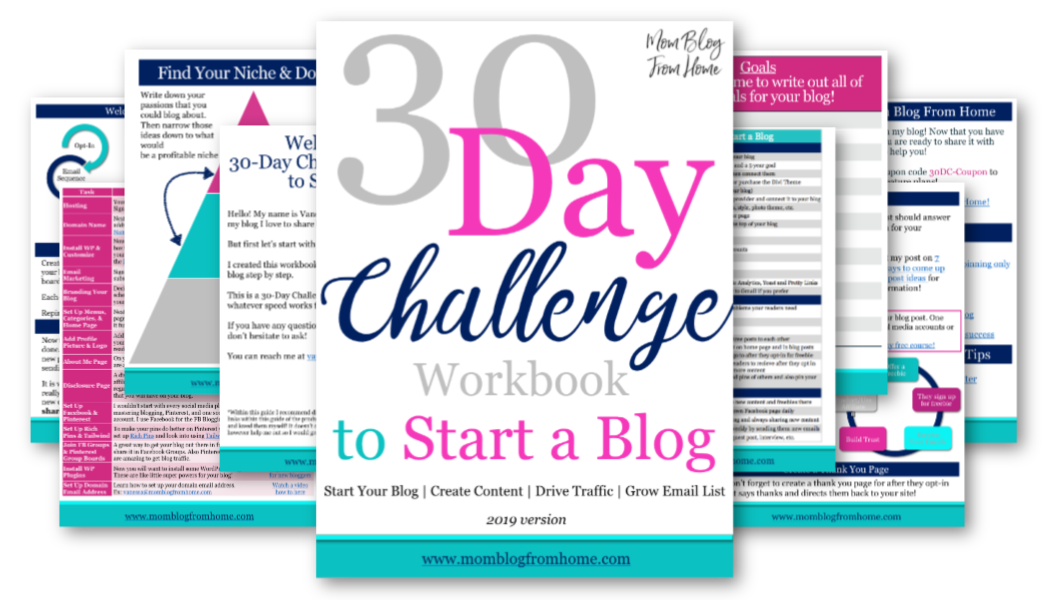 30 Day Challenge Workbook to Start a Blog - Mom Blog From Home