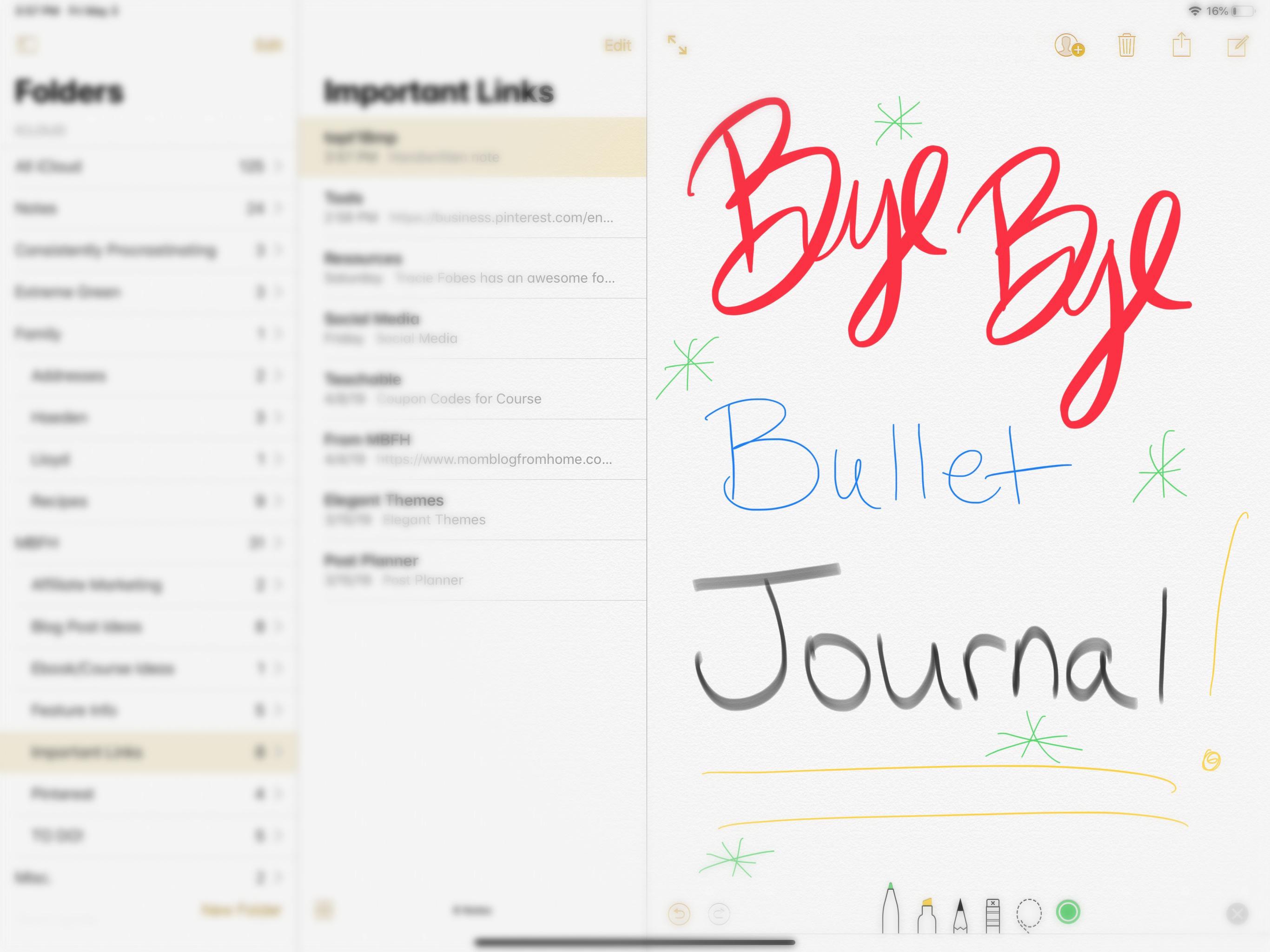 Notes App Image for Bye Bye Bullet Journal